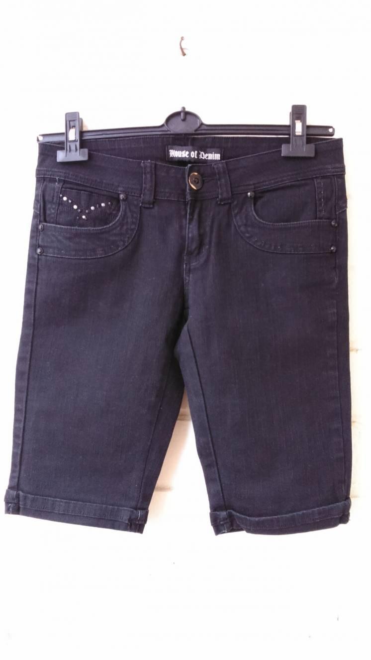 Джинсовые черные шорты. Фирма House of Denim. Размер UK 12, EUR 40