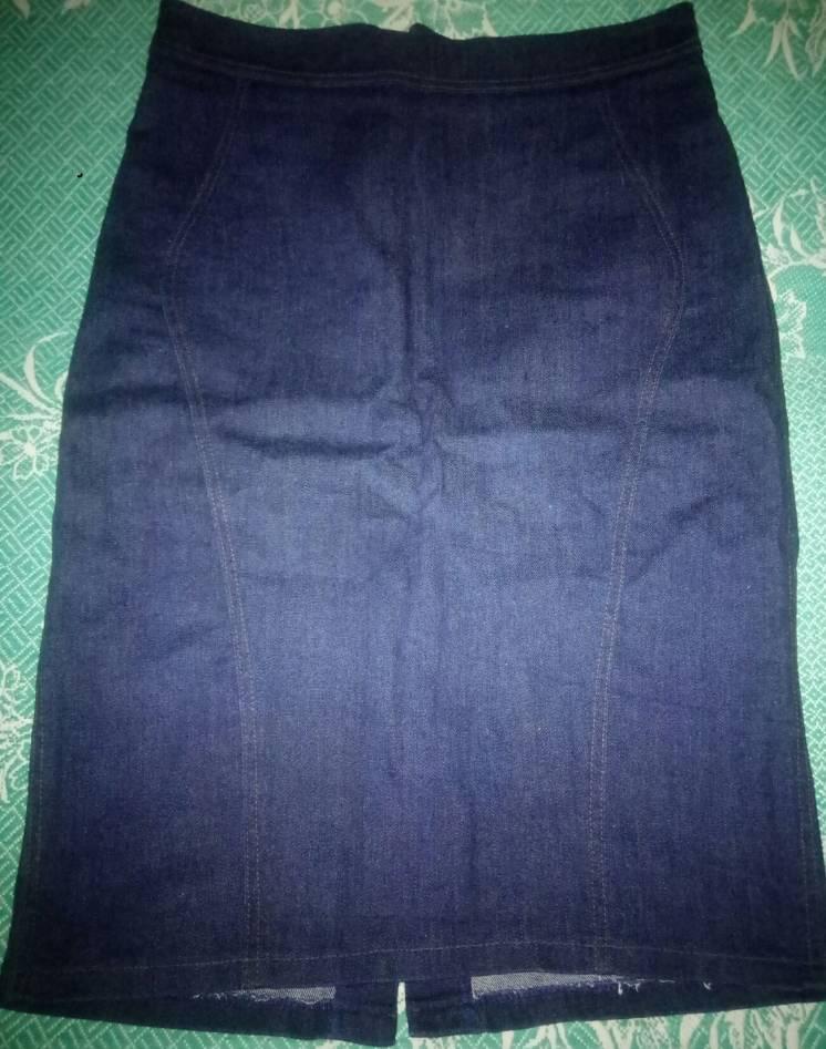 Тёмно-синяя прямая джинсовая юбка