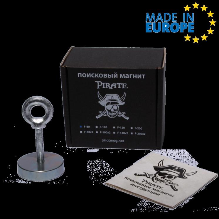 Поисковый магнит Пират F-80 односторонний Сила 90кг + ТРОС в ПОДАРОК