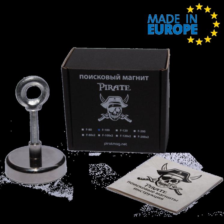 Поисковый магнит Пират F-100 односторонний Сила 120кг + ТРОС в ПОДАРОК