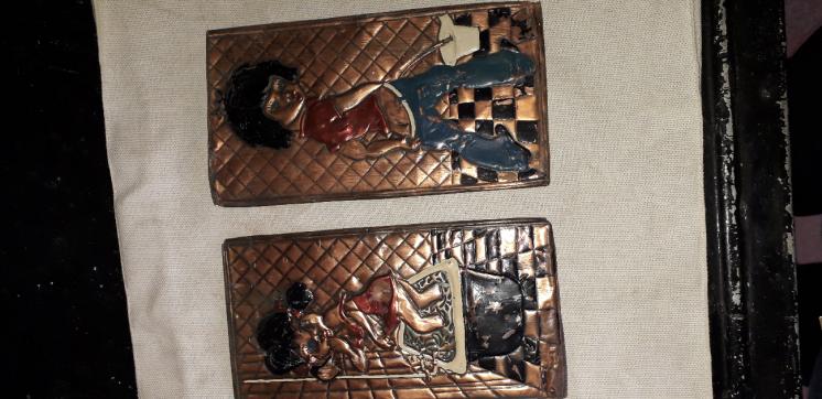 Таблички на ванную и санузел,СССР с эмалью.