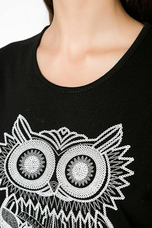 Крутая футболка с совой, мелкая паетка