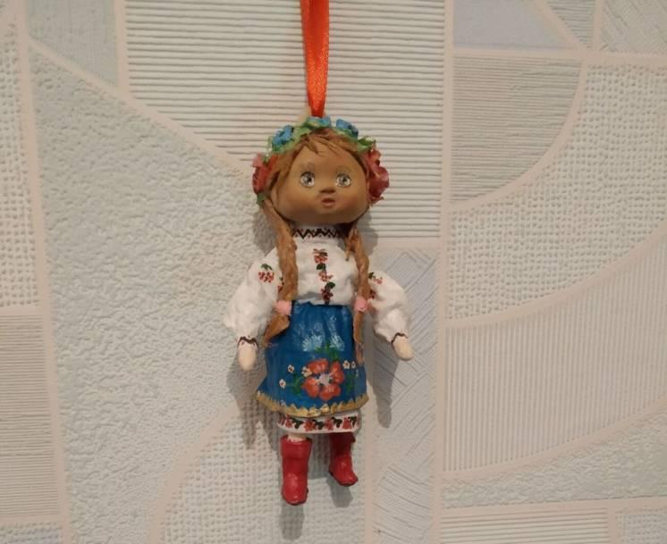 Игрушка кукла ватная,  сувенир новогодний из ваты
