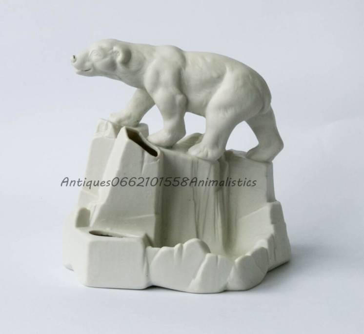Фарфор фарфоровая статуэтка Городница 1920 Белый медведь карандашница