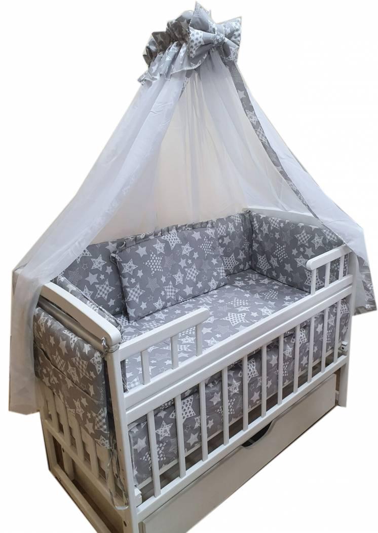 Акция! Премиум комплект: кроватка маятник +матрас кокос + постель