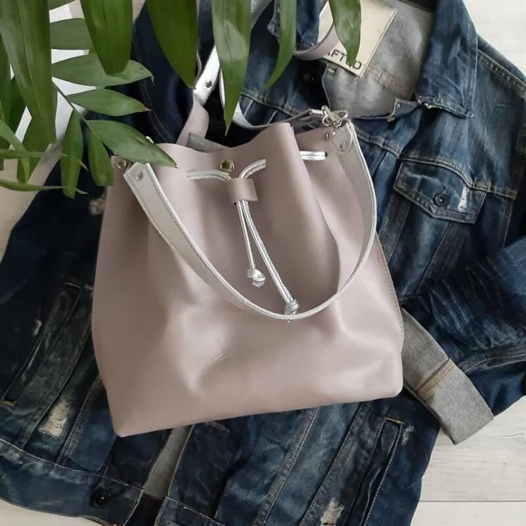 Кожаная сумка,сумочка мешок