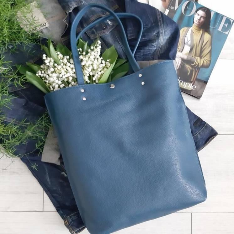 Кожана сумка шопер