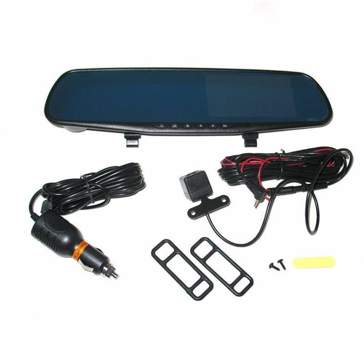 Видеорегистратор зеркало Vihicle blackbox DVR L 9000 с двумя камерами