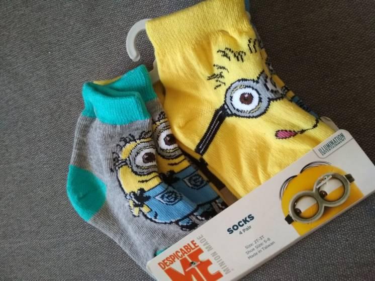 Носки детские Миньоны США, набор носков для ребенка 2-3 года, 4 пары