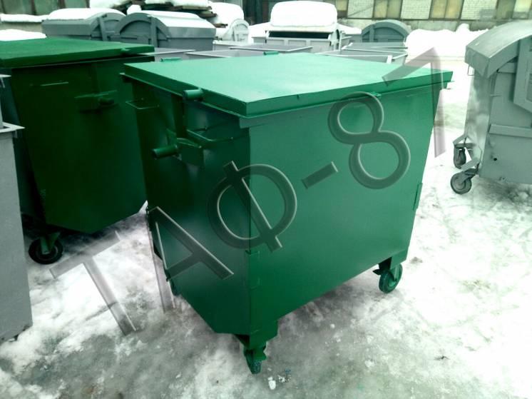 Евроконтейнер для мусора 1,1 м.куб., 1,2 мм с плоской крышкой
