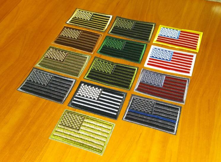 Пришивная нашивка (шеврон) - флаг США (Flag USA) US Army (левый)