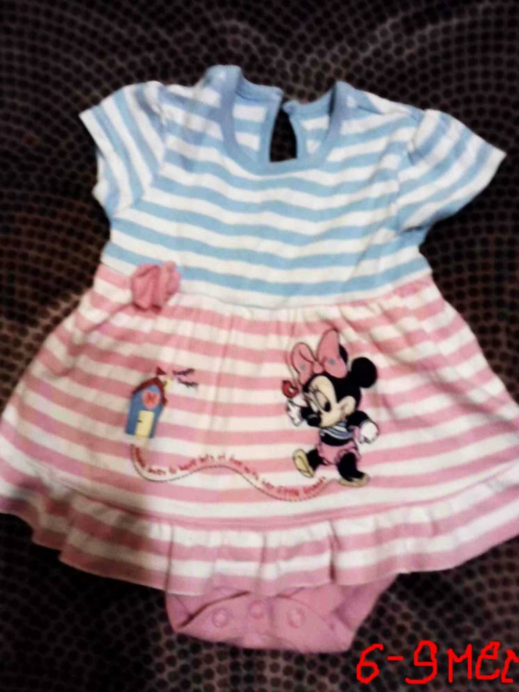 Боди для девочки 6 - 9 месяцев розово -голубое