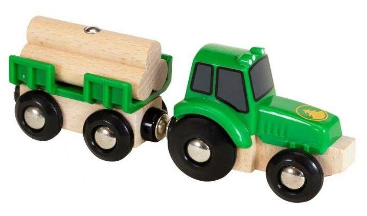 Деревянная железная дорога Brio 33799 Трактор с прицепом
