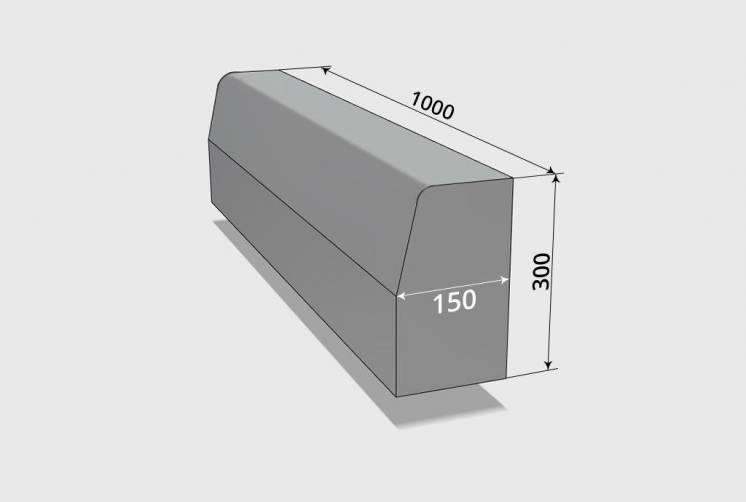 Бордюр дорожный большой БР  (100х30х15)