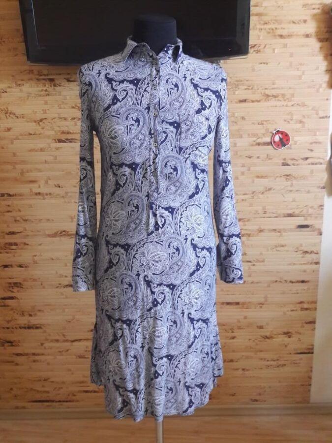 Платье-рубашка вискоза бело-синий огурец Oodji