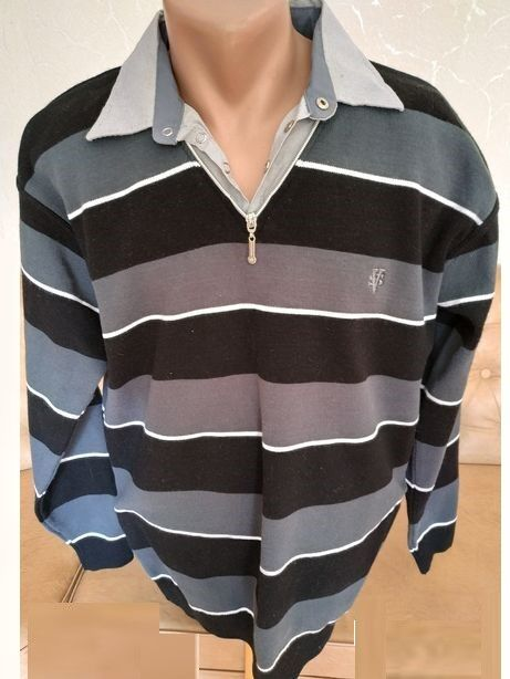 Модный свитер в полоску со встроченным рубашечным воротником р52