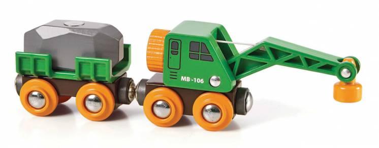 Деревянная железная дорога Brio (Брио) 33698 вагон с краном