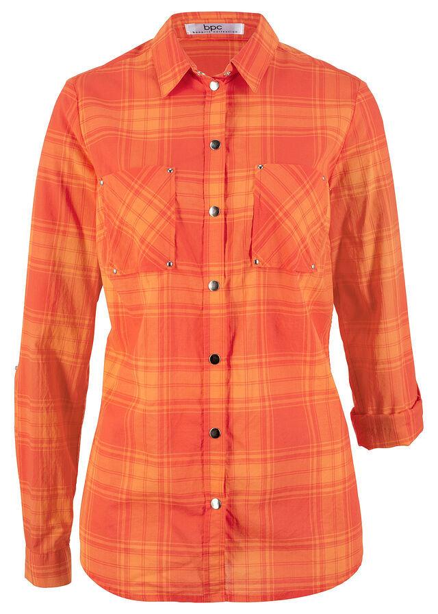 Рубашка в клетку нектариновый/мандариново-красный