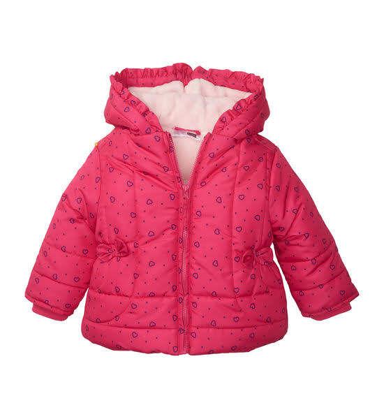 Зимняя розовая куртка в сердечки на девочек, Ergee, Германия