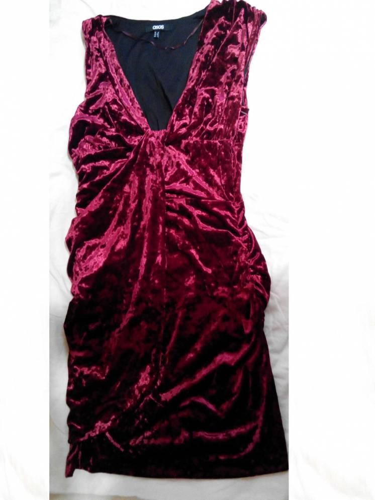 Платье нарядное размер 44 (s) велюровое бордовое