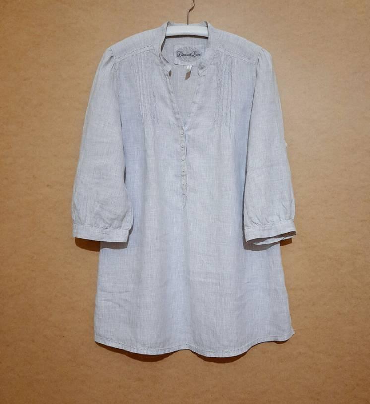 Льняная женская серая удлиненная рубашка туника лен Marks Spencer