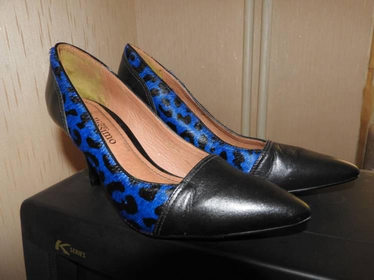 Туфли женские Bellissimo наутральная кожа мех нерпы нерпа 37 размер
