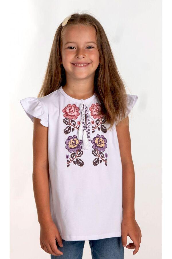 Вишита футболка для дівчинки (6015)