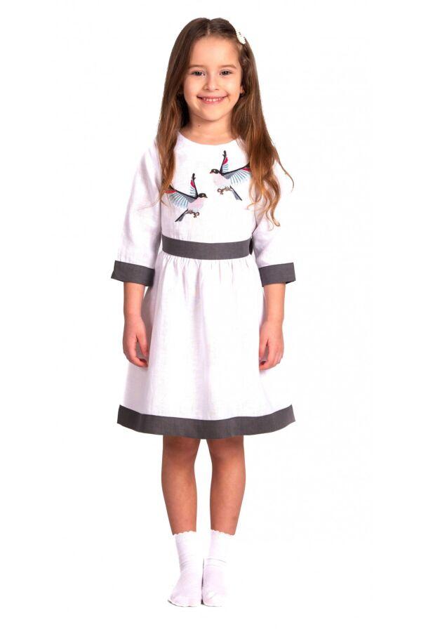 Вишита лляна сукня для дівчинки (6007)