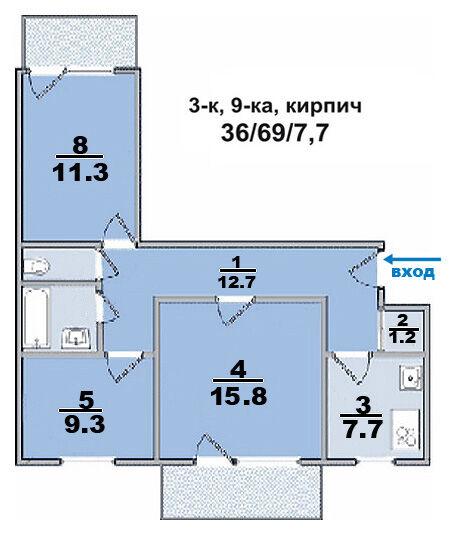 Продам 3-х комн квартиру