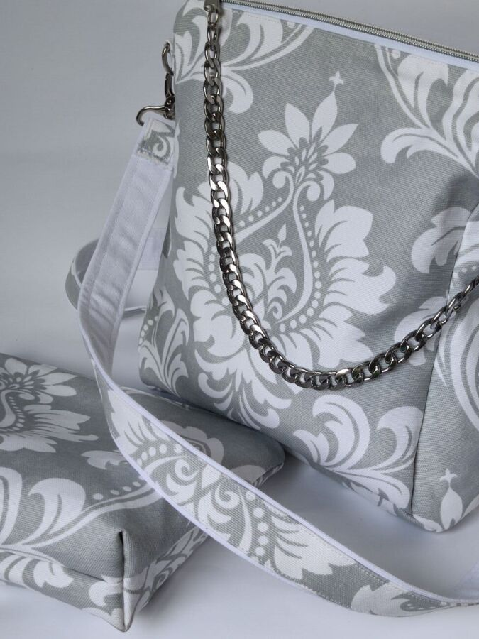 Сумка-рюкзак+косметичка из Водоотталкивающей ткани, серая
