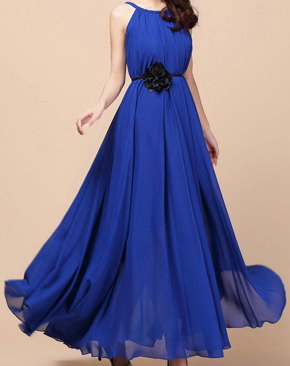 Платье из шифона. Красный, синий, белый. S-L. Новый!