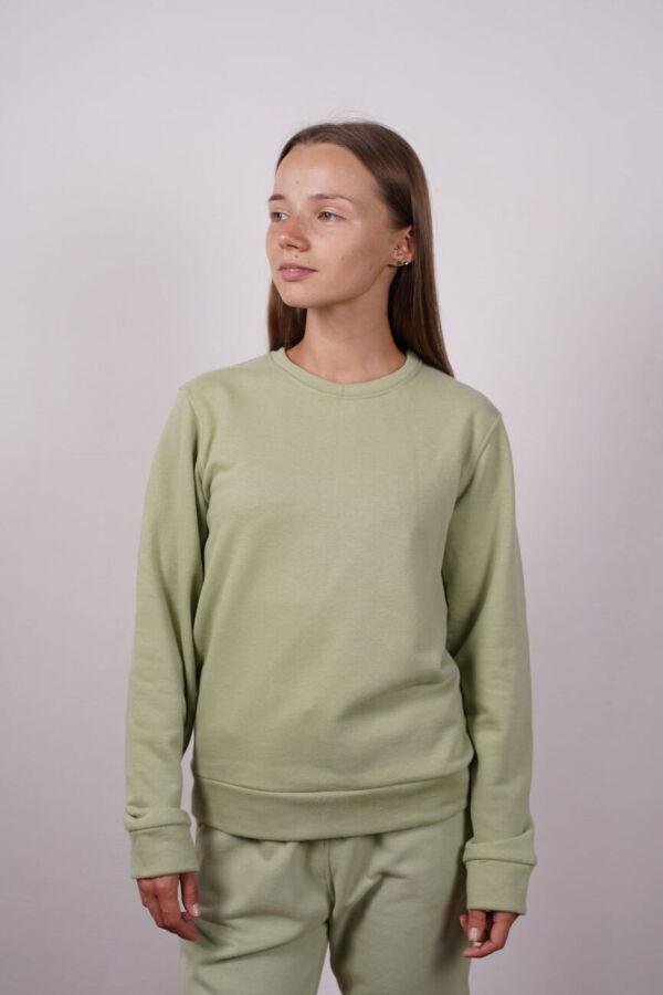 Женский зеленый свитшот толстовка базовая хлопковая реглан свитер