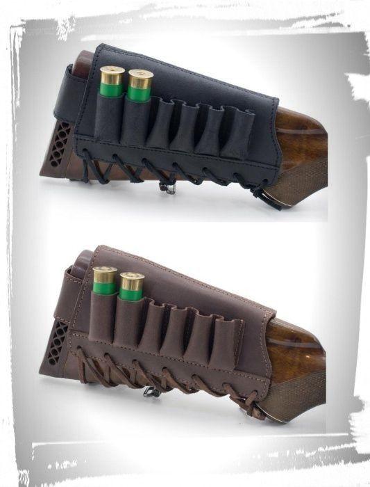 Патронташ на приклад ,кожаный на 6 патронов 12/16 калибра, на шнурке