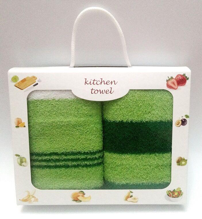 Подарочный набор полотенец для кухни махровые в полоску 2 шт 70х40 см