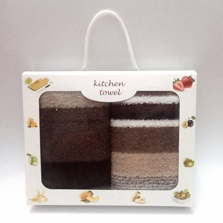 Подарочный набор полотенец для кухни махровые в полоску 2шт 70х40см