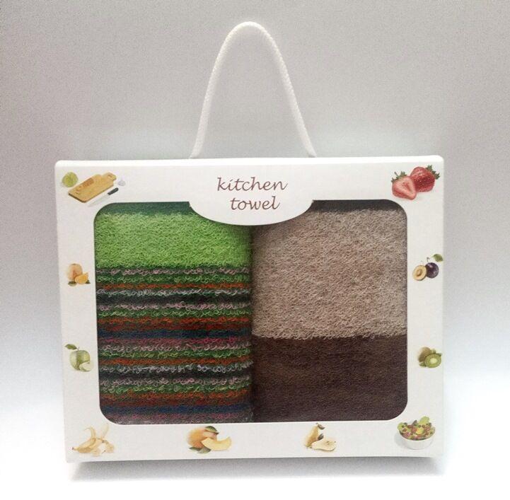 Подарочный набор полотенец для кухни махровые полосатые 2шт 70х40