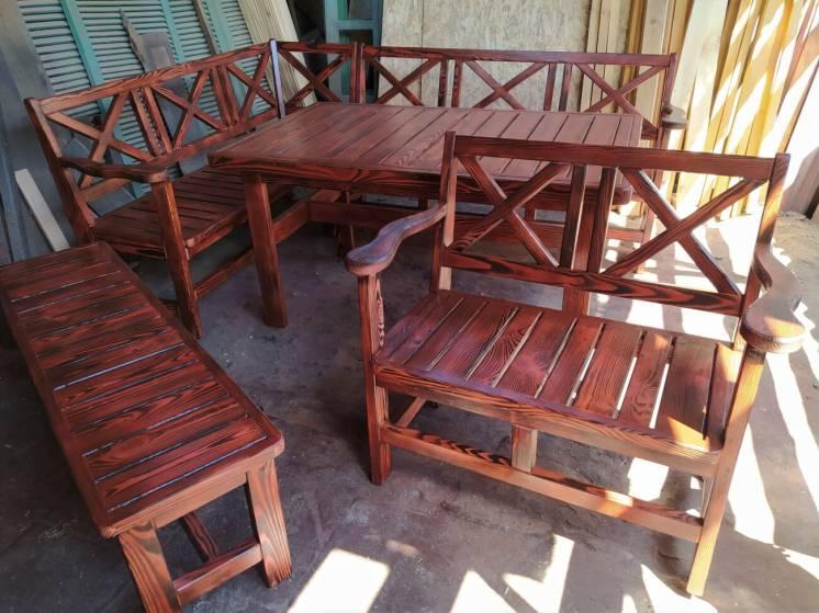 В наличии! Садовый комплект мебели деревянный Прованс ( стол, лавки