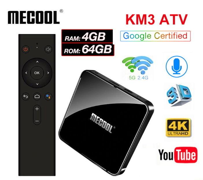 Mecool KM3 4/64Gb AndroidTV ТВ приставка TV Box Mi box s KM1 KM9 Pro