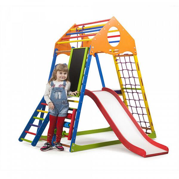 Детский деревянный спорткомплекс для квартиры «KindWood Color Plus 3»