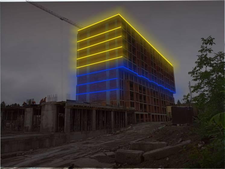Архітектурна підсвітка фасадів. Підсвічування недобудов та монолітів