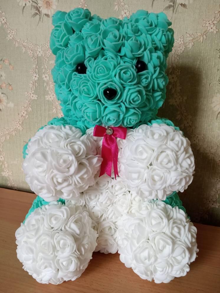 Ведмедик з квітів (3Д троянд), оригінальний подарунок ручної роботи