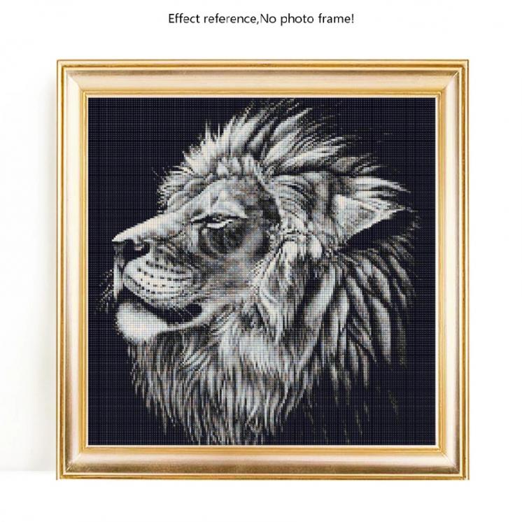 Набор алмазной вышивки. Черный лев