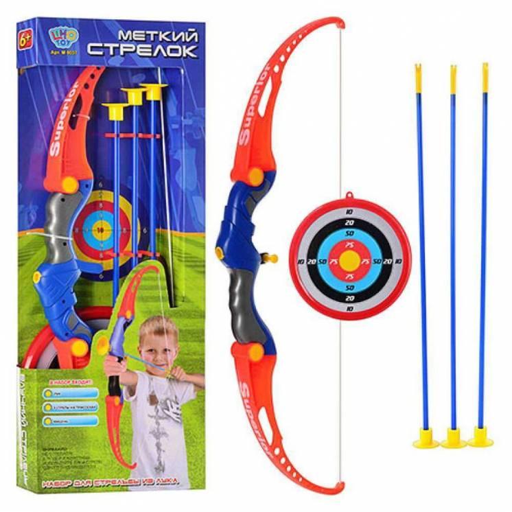Лук детский 0037 стрелы на присосках, мишень