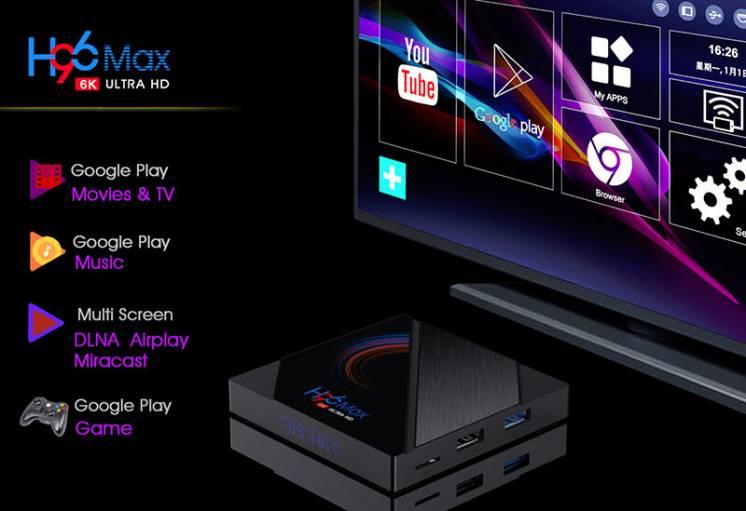 Смарт приставка h96 max 2/16 тв бокс box x96 h96 4k/6k android 10