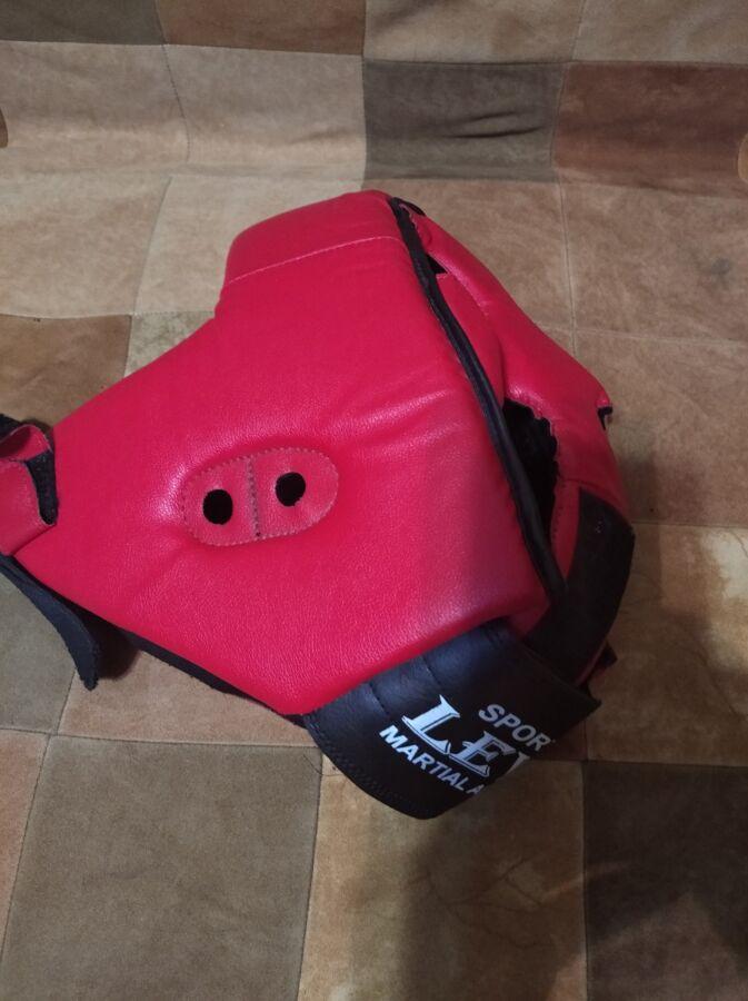 Шлем Тренировочный Закрытый Lev Sport Кожзам. Цвет Красный