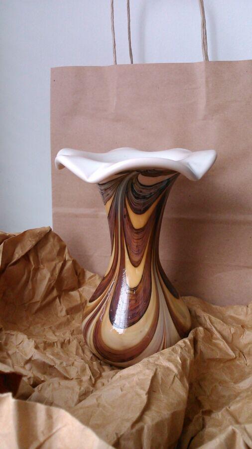 Новая ваза. Цветное стекло. Толстое стекло. Ручная работа.