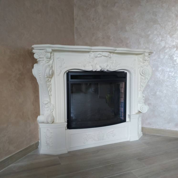 Угловой камин декоративный, фальш камин, портал для камина KP-1(17)