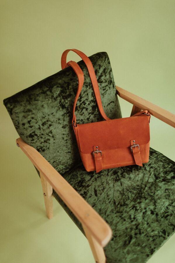 Стильная коричневая кожаная сумка, Сумка из кожи крейзи Хорс