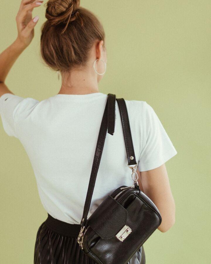 Стильная сумка из натуральной кожи, кожаная кроссбоди, черная сумка