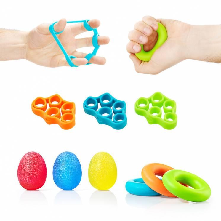 Набор эспандеров 9 шт для пальцев и запястья 4FIZJO